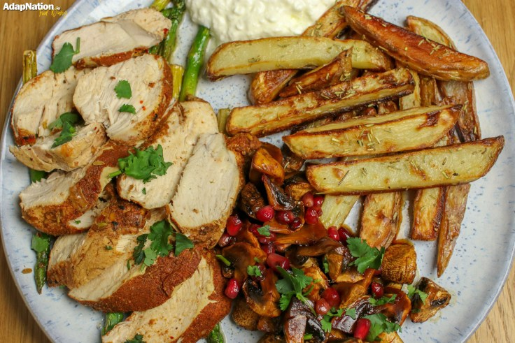 Moroccan Chicken, Baked Mushrooms & Chunky Chips p2