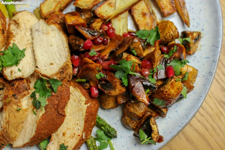 Moroccan Chicken, Baked Mushrooms & Chunky Chips p3