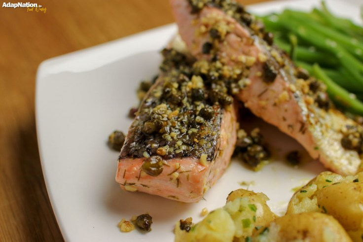 Caper, Dill & Lemon Salmon with Crushed Potatoes & Seaweed Caviar p2