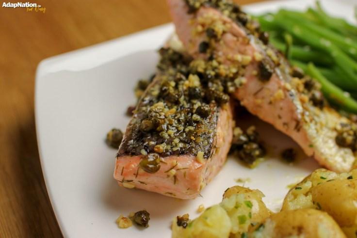 Caper, Dill & Lemon Salmon with Crushed Potatoes & Seaweed Caviar p2