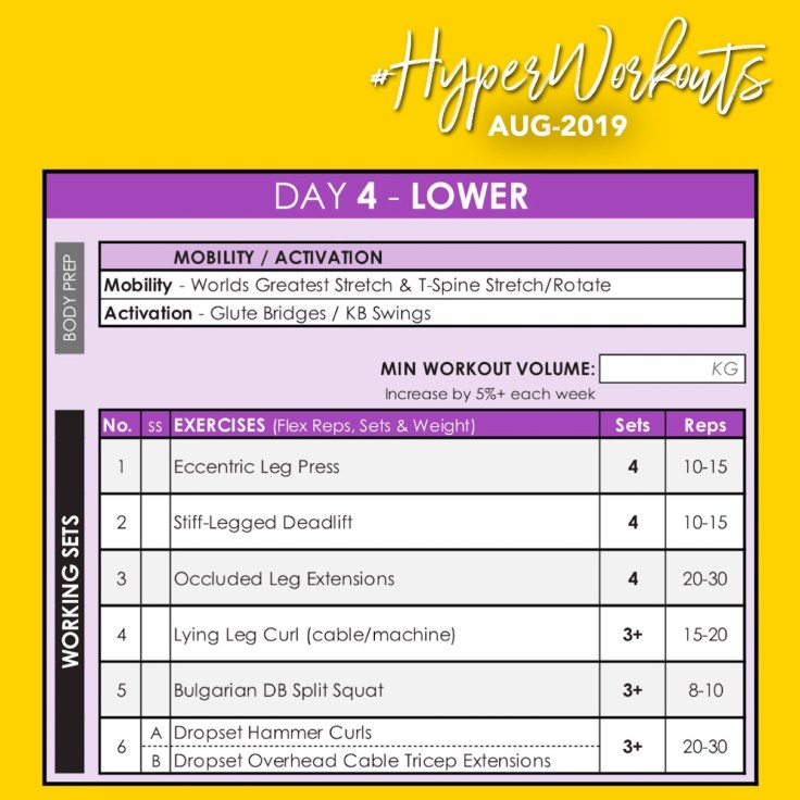 AUG-19 HyperWorkouts DAY 4 - Weight Lifting Gym Workout Plan & Gym Program