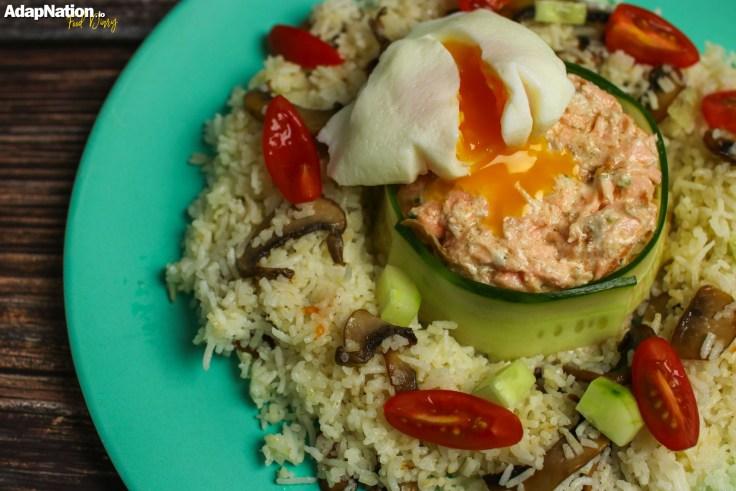 Flaked Salmon & Lemony Mascarpone, Poached Egg & Mushroom Rice