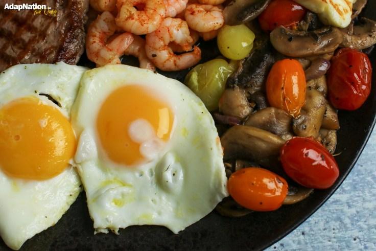 Eggs Tomatoes Prawns Steak