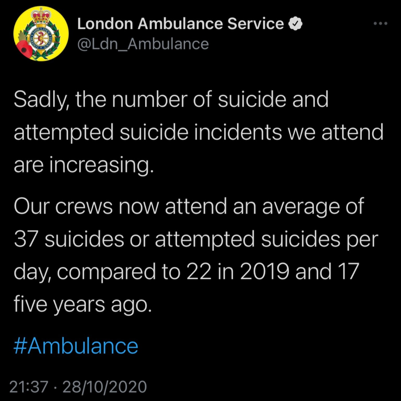 Suicides increasing in UK 2020