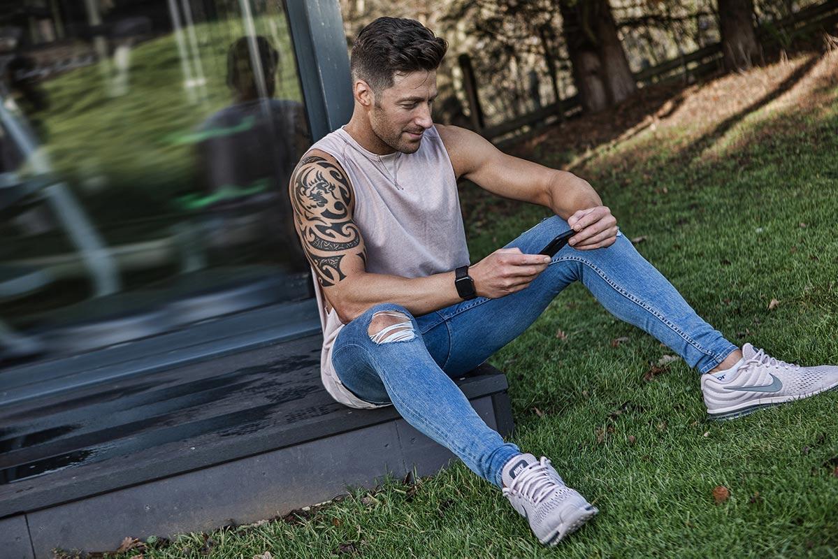 Steve Katasi on his mobile... again