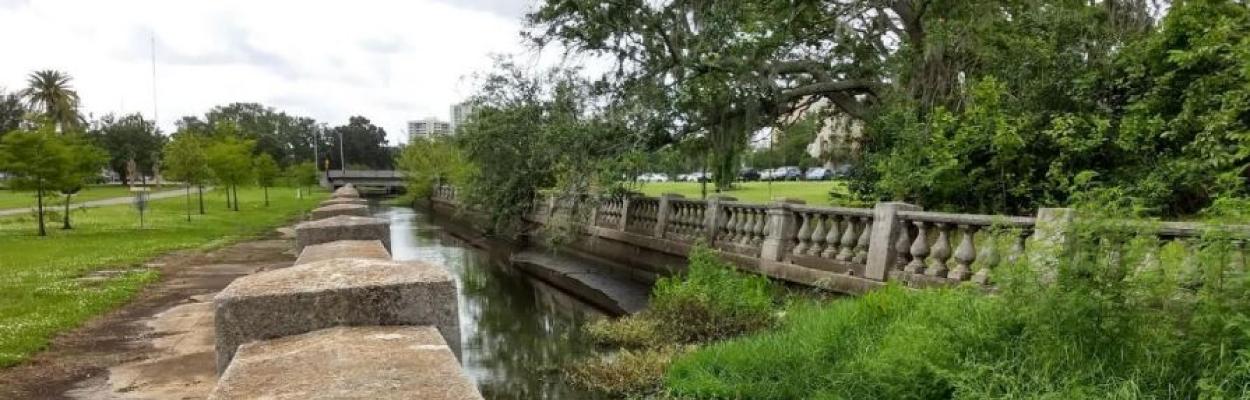 Aging balustrades line Hogan's Creek in Downtown Jacksonville