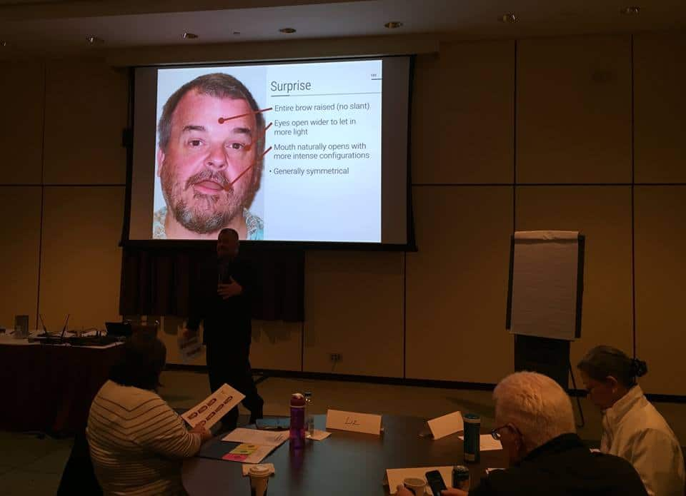 Geoff maps facial expressions at the 2016 Project World * Business Analyst World Workshop Series