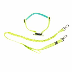 A yellow and turquoise belt clipped into a loop. Below that, a yellow dog lead, with clips at both ends