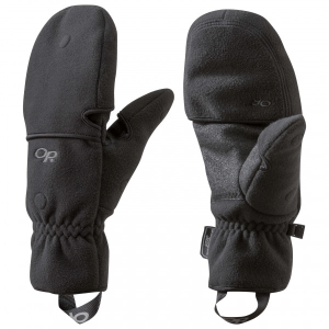This image shows a pair of black gloves