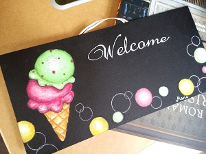 アイスクリームのウェルカムボード