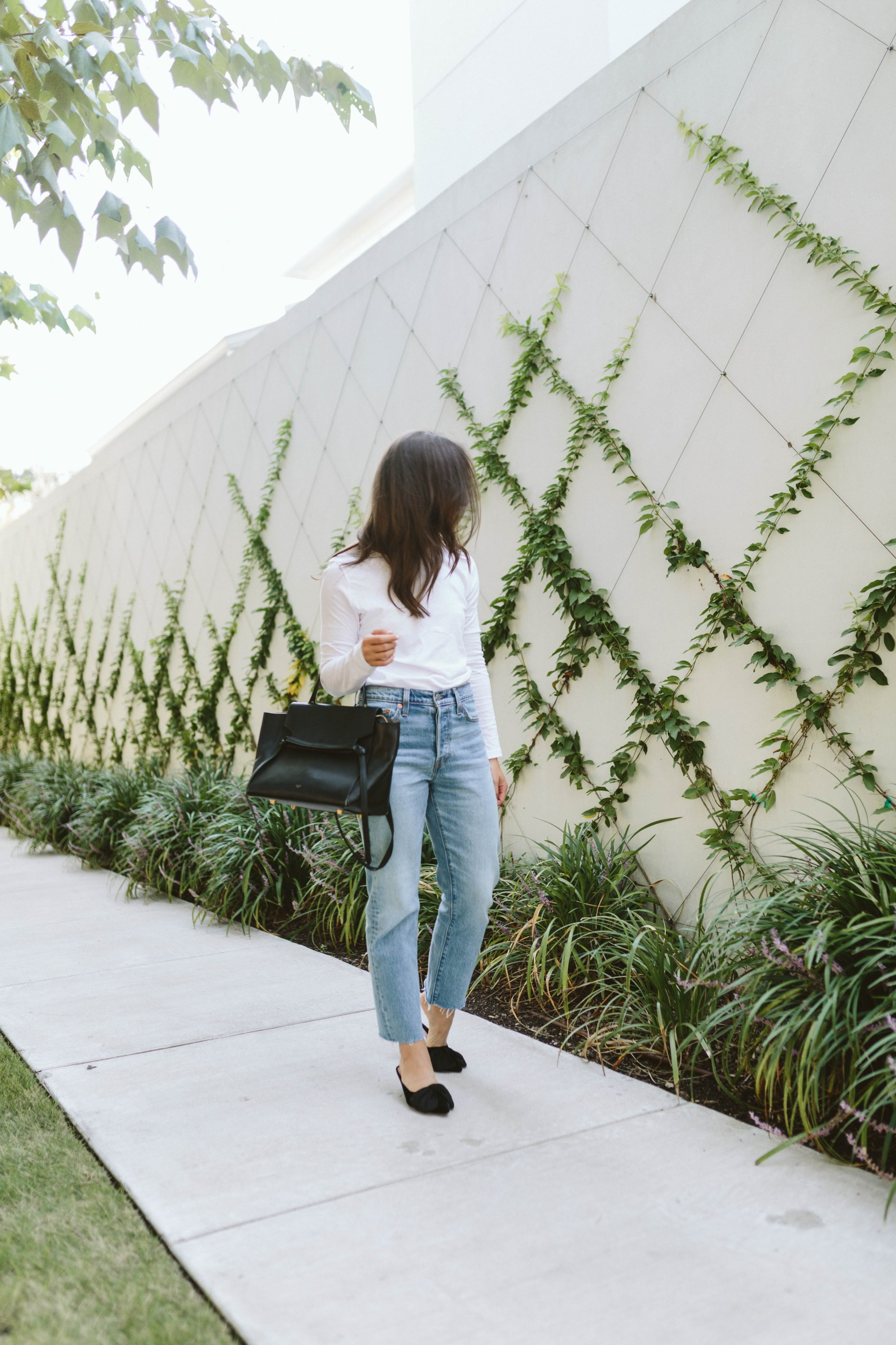 JBrand White Cropped Tee and Levis