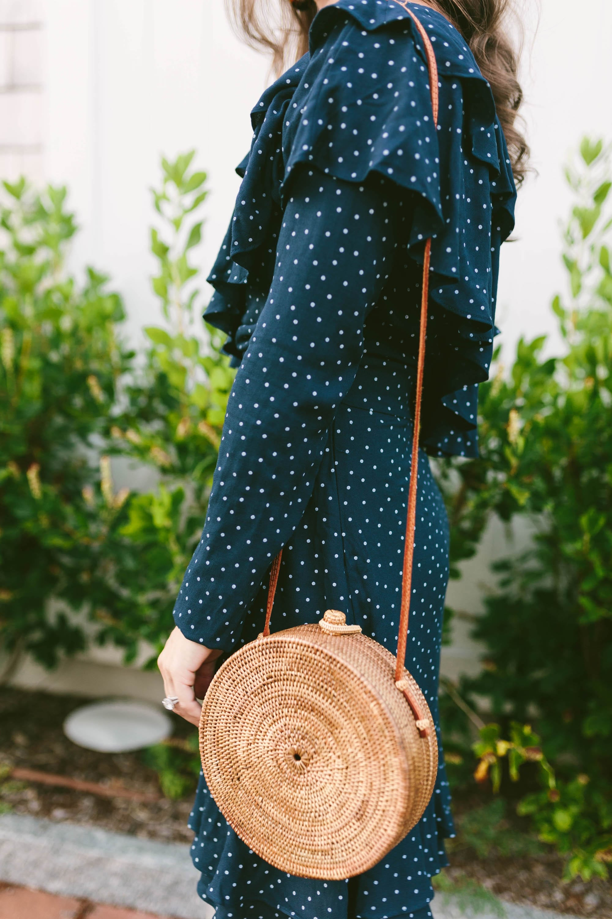 Bem Bien Rose Bag and Navy Polka Dot Dress