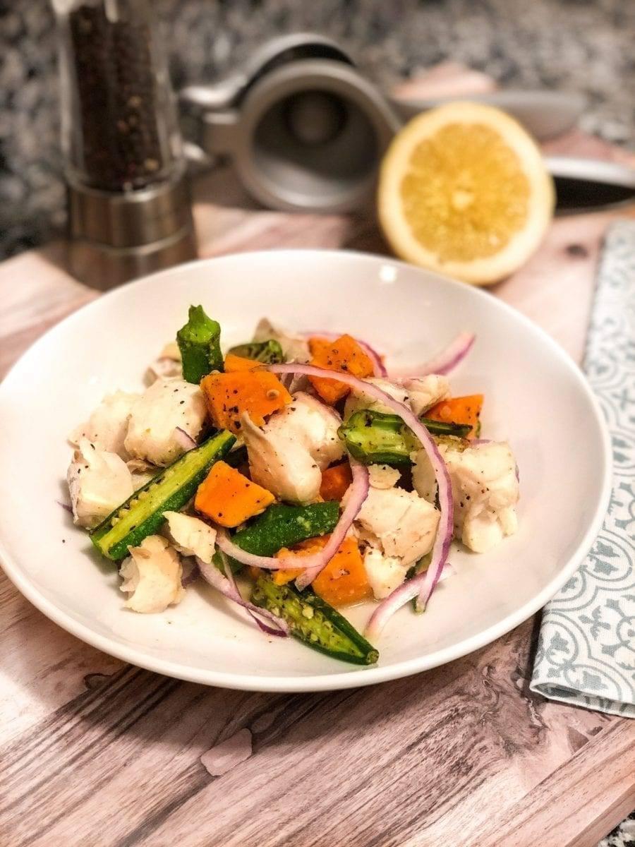 Warm Cod Ceviche w/Okra & Sweet Potatoes