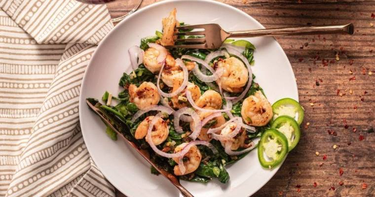 Spicy Shrimp and Sautéed Spinach