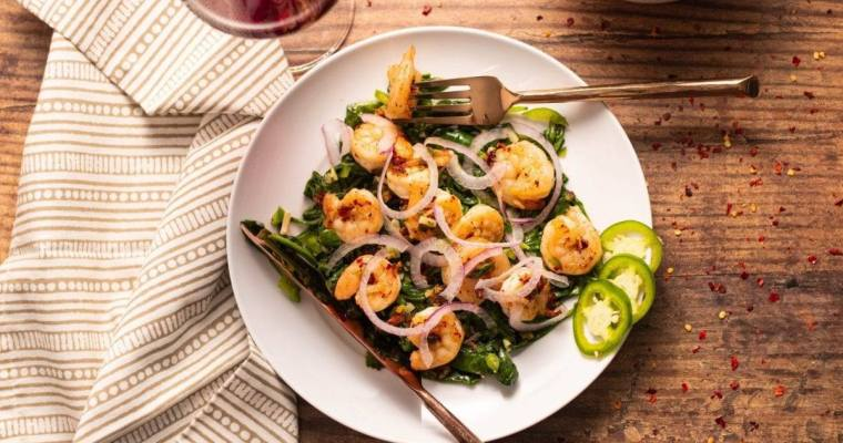 Spicy Shrimp & Sauteed Spinach