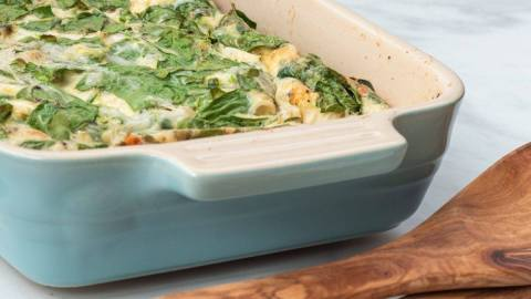 spinach and mozzarella egg casserole meal prep macro counting