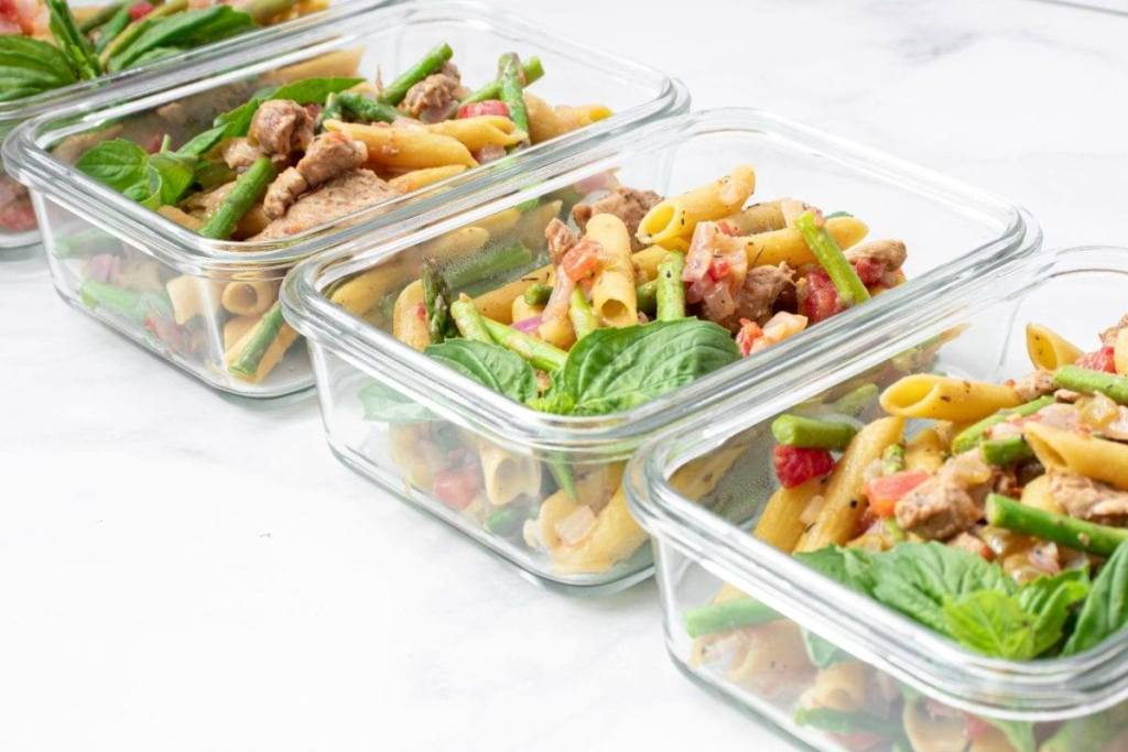 Turkey and Asparagus Green Lentil Pasta Meal Prep Meal Planning Counting Macros
