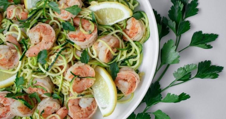 Zucchini Noodles and Lemon Shrimp