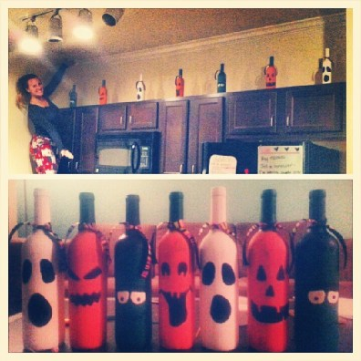 diy Halloween painted wine bottles