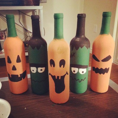 painted halloween wine bottles