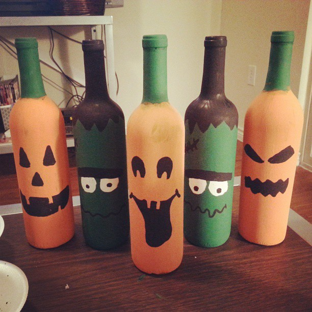 painted halloween wine bottles