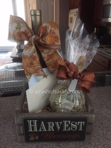 fall harvest wine thank you gift basket