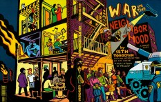 """Cover of Seth's book """"War in the Neighborhood,"""" a graphic novel about the struggles over homelessness, gentrification, police brutality and human rights that raged in NYC during the 1980s and 90s. Published by Autonomedia."""