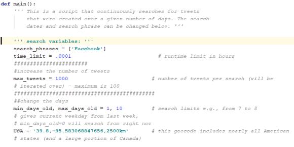Retrieving tweets