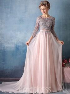Ericdress 3/4 Sleeve Applique Chiffon A Line Long Evening Dress