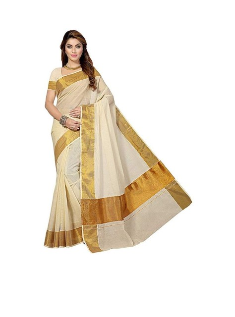 Generic Women's Cotton Saree With Dark Golden Border