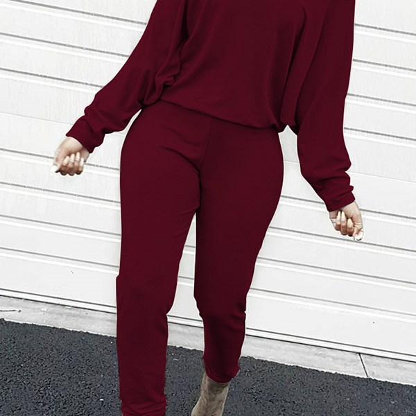 Lovely Casual Dew Shoulder Blending Wine Red One-piece Jumpsuit 2