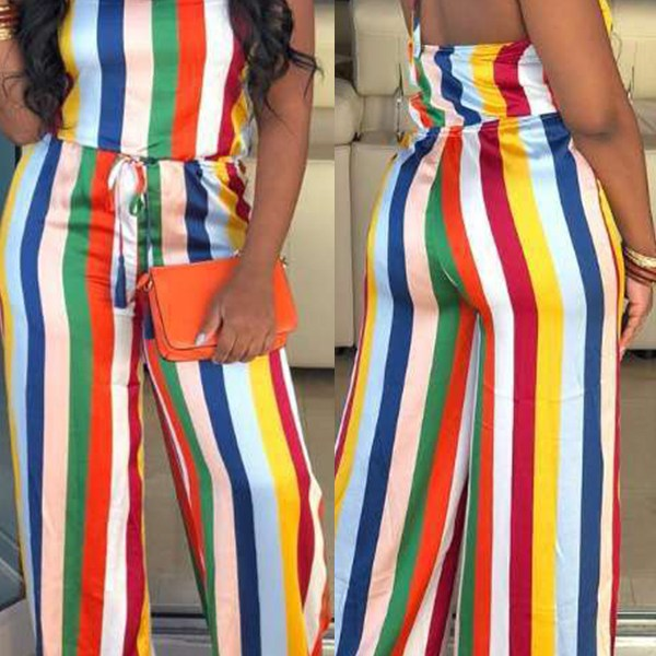 Lovely Sexy Halter Neck Striped Printed Multicolor One-piece Jumpsuit 2