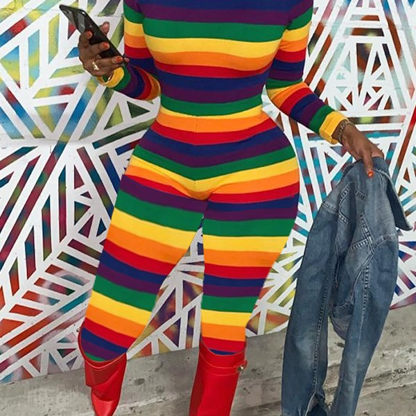 Lovely Chic Striped Skinny Multicolor One-piece Jumpsuit 2
