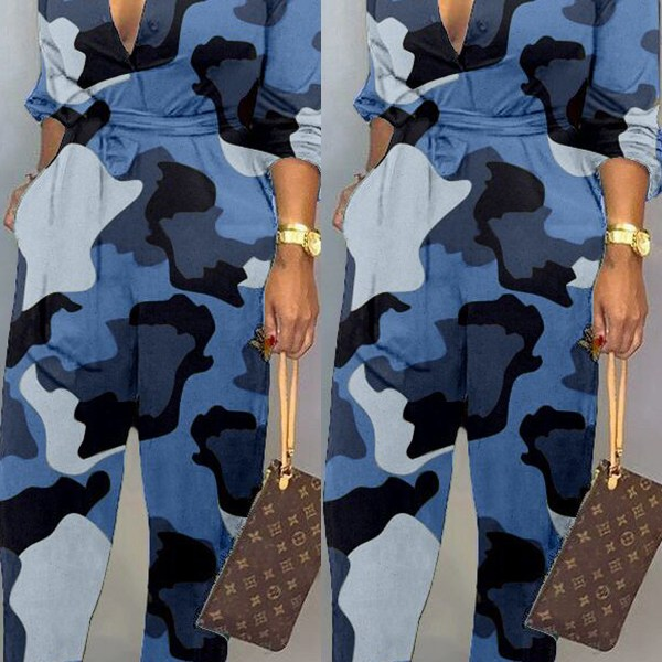 Lovely Casual Camouflage Printed Blue One-piece Jumpsuit 2