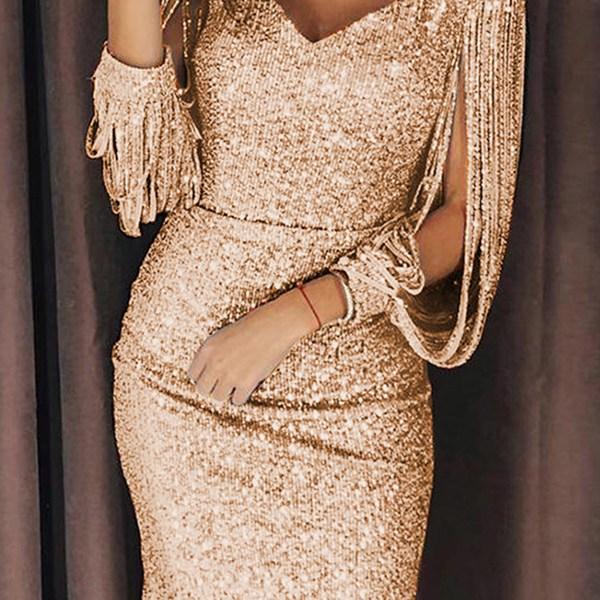 Lovely Party V Neck Tassel Design Gold Mini Evening Dress 2
