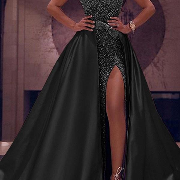 Lovely Party Sleeveless Patchwork Black Floor Length Evening Dress 2