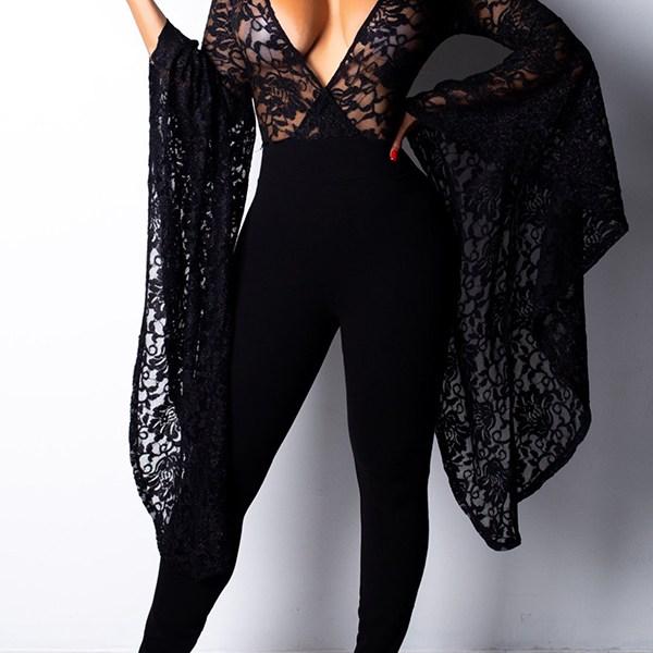 Lovely Stylish Flounce Design Black One-piece Jumpsuit 2