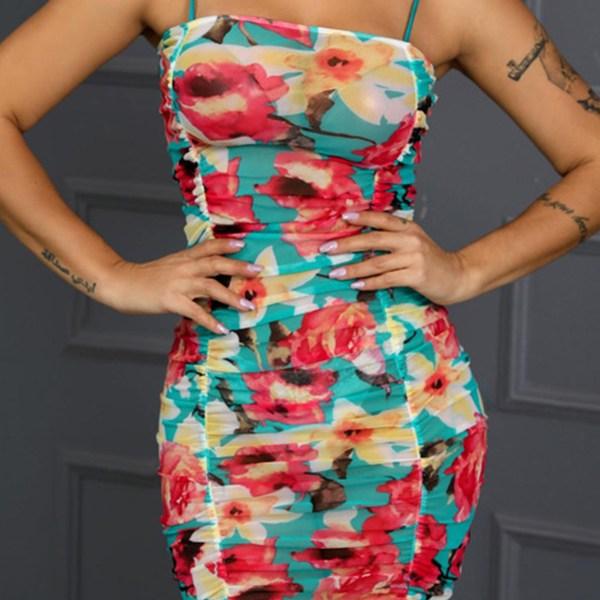 Lovely Bohemian Sleeveless Print Multicolor Knee Length Dress 2