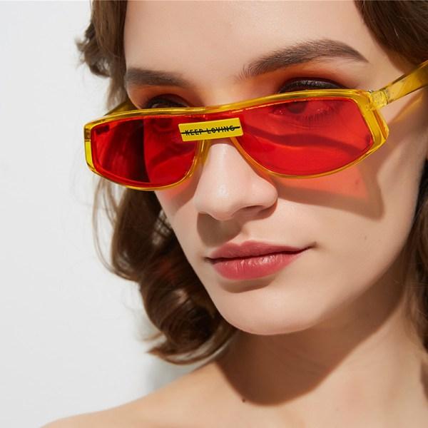 Lovely Retro Patchwork Yellow Sunglasses 2