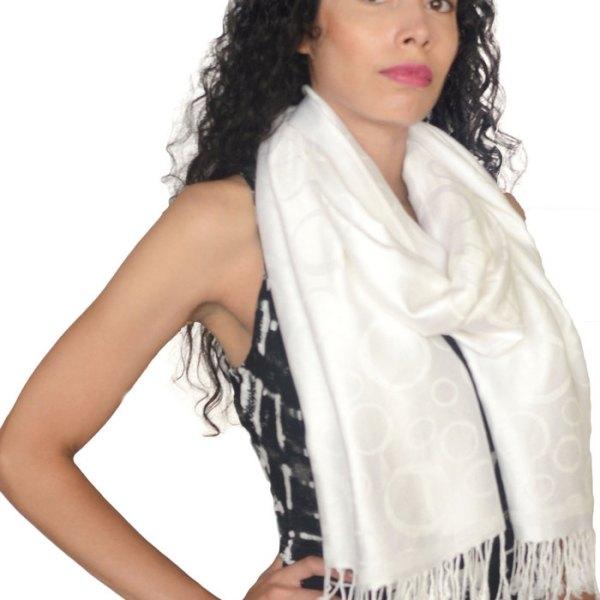 Circle Design Pashmina White 2