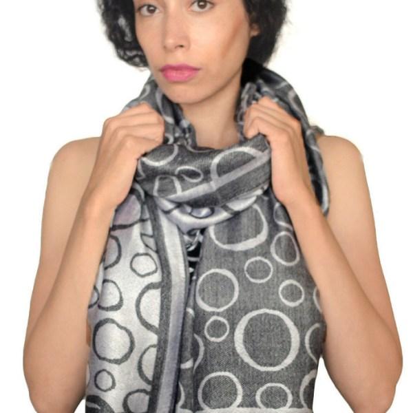 Circle Design Pashmina Black/Silver 2