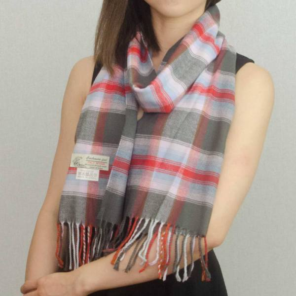 Woven Cashmere Feel Plaid Scarf Z39 Grey/Pink 2