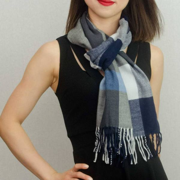Woven Cashmere Feel Plaid Scarf Z39 Navy Blue 2