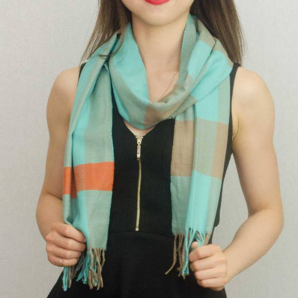 Woven Cashmere Feel Plaid Scarf Z39 Turquoise 2
