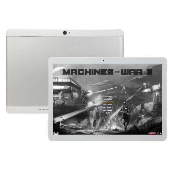 10.1 Inch Tablet Android 8.0 4+64GB Tablet PC with TF Card Slot and Dual Camera Silver_US plug 2