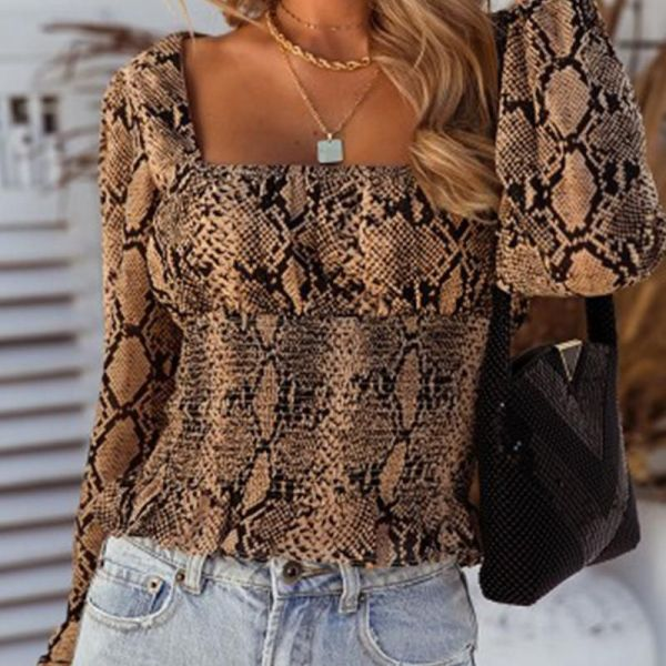 Snakeskin Square Neck Casual Blouse 2