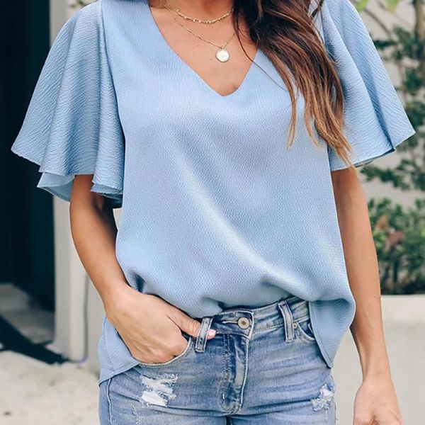 V-neck Short Sleeve Ruffles Blouse 2