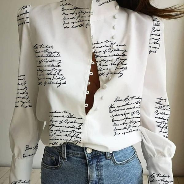 Stand Neck Letter Print Buttoned Shirt 2