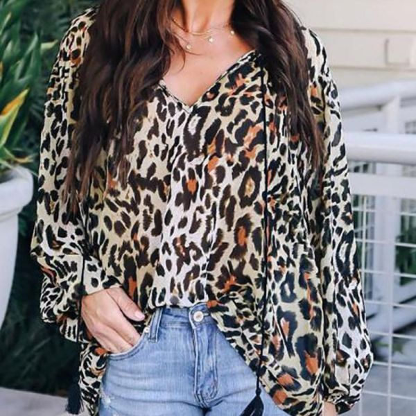 Leopard Print Drawstring Long Sleeve Blouse 2