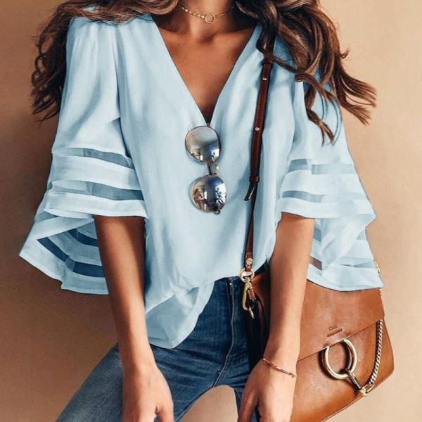 Solid Mesh Splicing Flared Half Sleeve Blouse 2